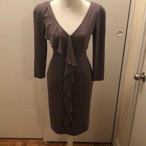 Suzi Chin Gray Ruffled Dress with V Neck
